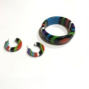 Jewelry - Fashion Acrylic Earring and Bracelet Multi Color